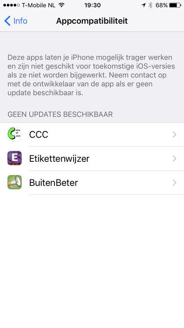 CCC niet aangepast voor toekomstige iOS versies